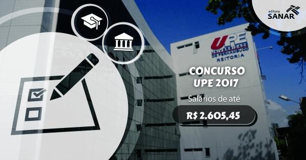 Concurso UPE: edital aberto com vagas para Nutrição, Enfermagem, Psicologia e mais