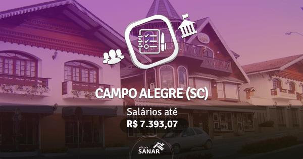 Prefeitura de Campo Alegre (SC): vagas para Enfermagem, Fisioterapia, Nutrição e mais
