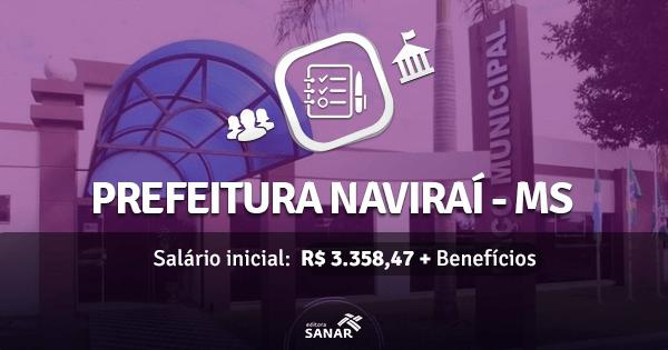 Prefeitura de Naviraí - MS abre concurso com vagas para Nutricionistas, Enfermeiros, Psicólogos e Fisioterapeutas