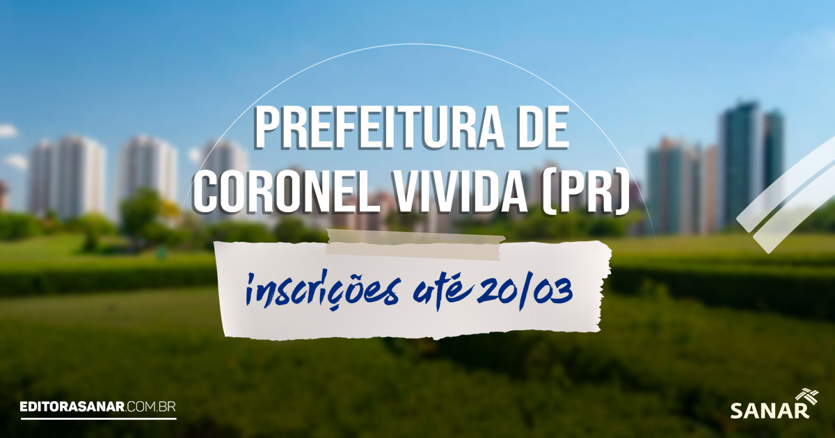 Concurso Prefeitura de Coronel Vivida (PR):  salários de até R$ 11,5 mil na área da Saúde