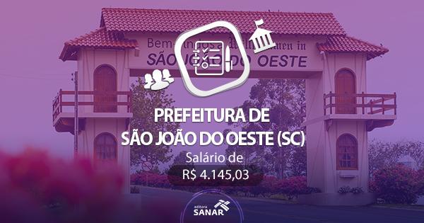 Concurso Prefeitura de São João do Oeste (SC) 2017: edital divulgado com vagas em Psicologia e Fisioterapia