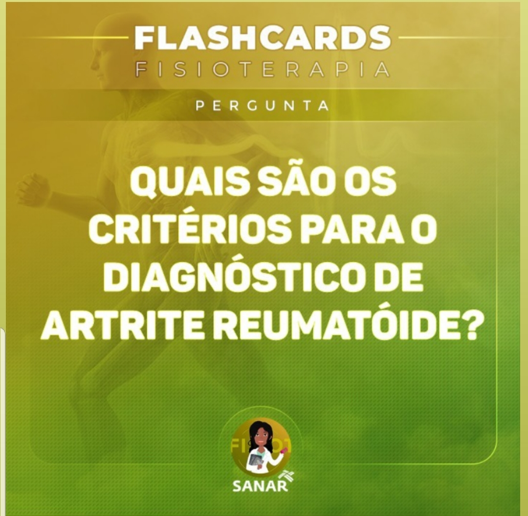 Flashcard de Artrite Reumatoide | Fisioterapia