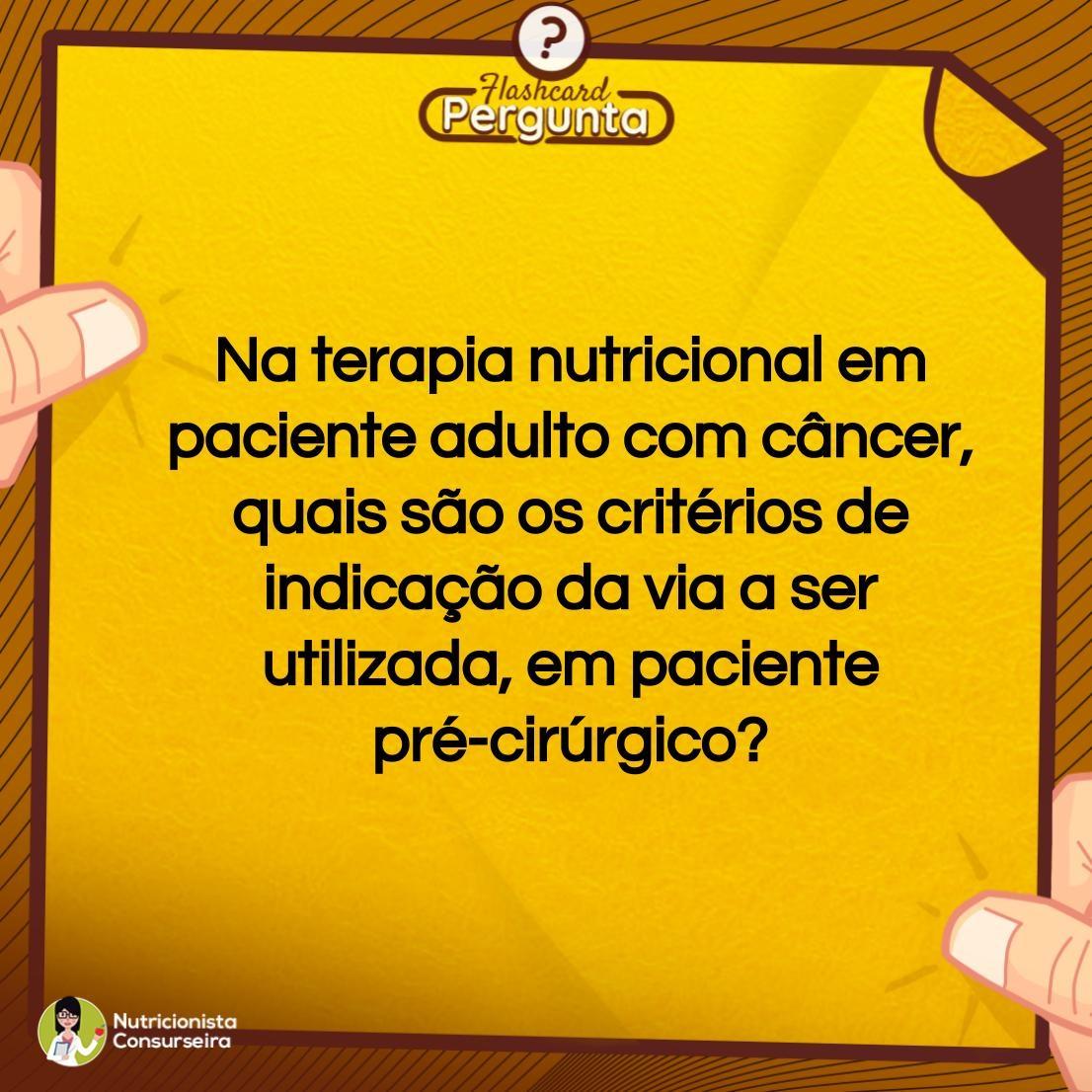 Flashcard de Terapia Nutricional | Nutrição