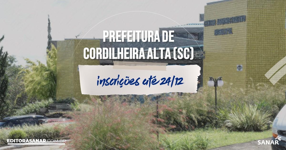 Concurso de Cordilheira Alta - SC: salários de até R$8 mil na Saúde!