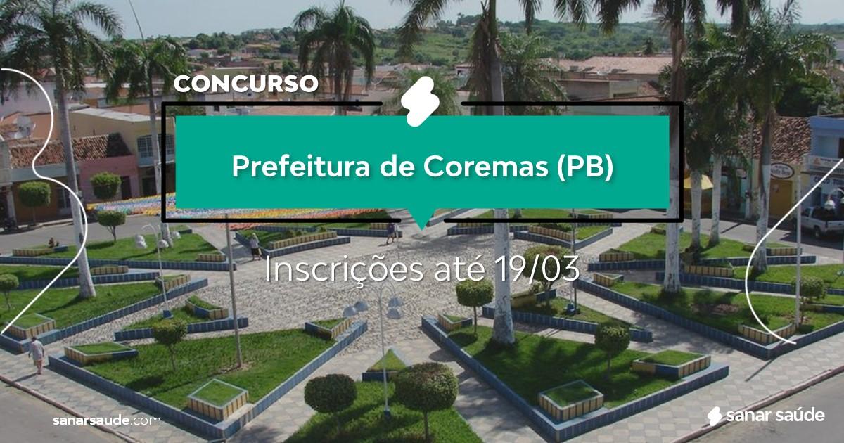 Concurso de Coremas - PB:  vagas imediatas na Saúde!