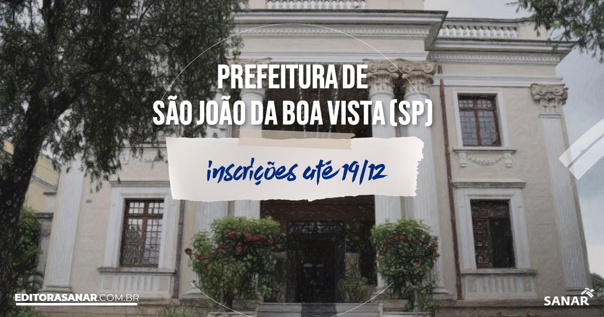 Concurso de São João da Boa Vista - SP: vagas na Saúde!