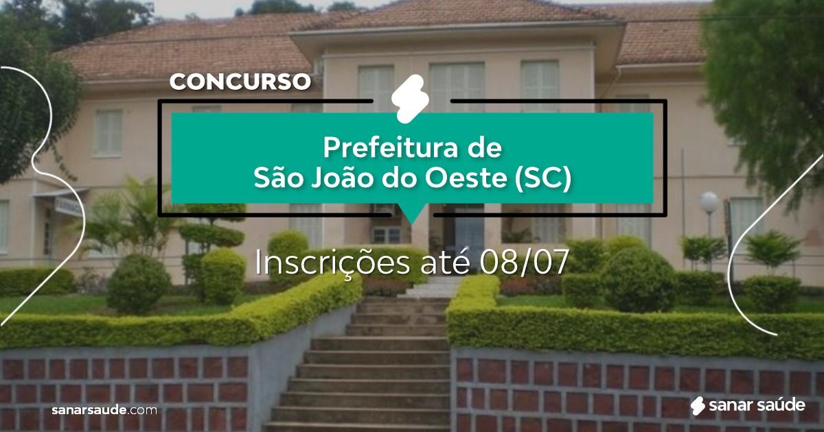 Concurso de São João do Oeste - SC: salário de R$19 mil na Saúde!