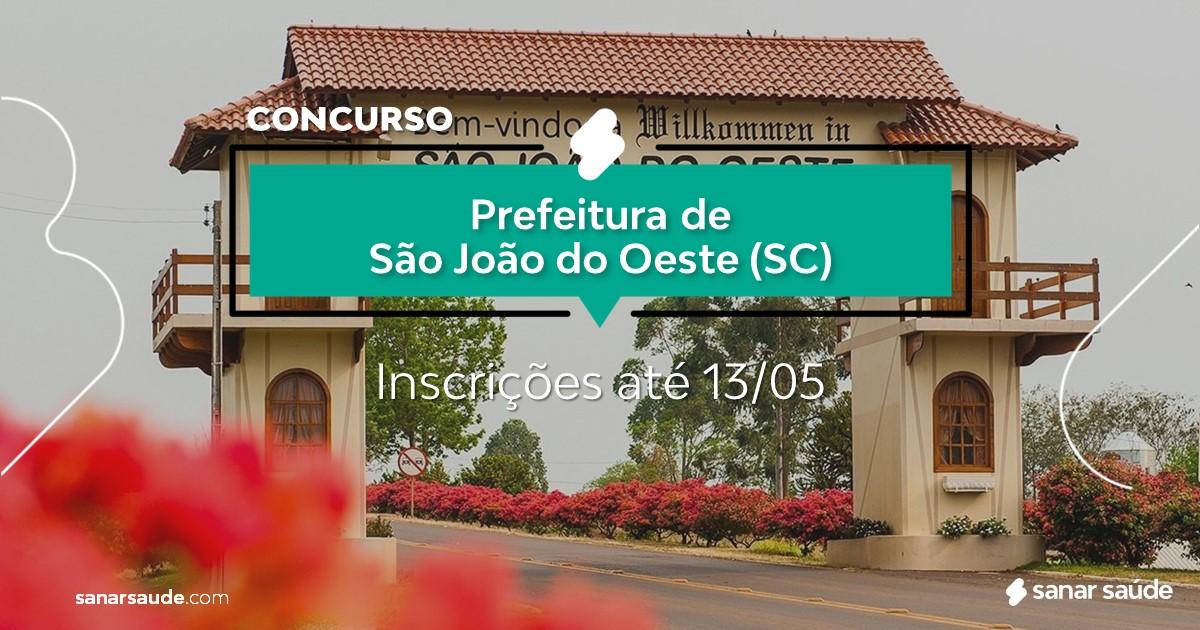 Concurso de São João do Oeste - SC: vaga na Saúde para nutricionista!
