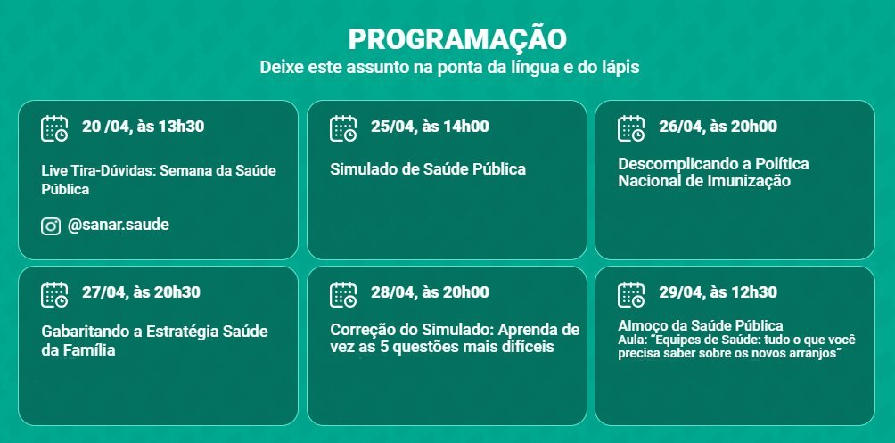 Programação da Semana da Saúde Pública