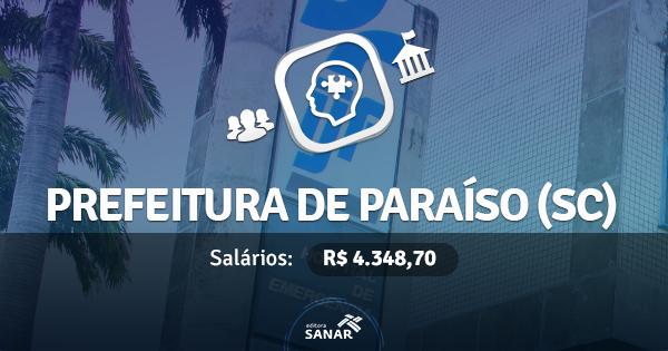 Prefeitura Municipal de Paraíso (SC) abre concurso com vagas para Farmacêuticos e Veterinários