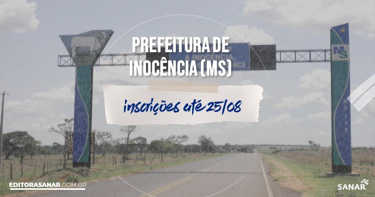 Concurso de Inocência - MS: cargos de até R$20 mil na Saúde!